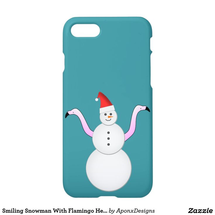 Phone Case: Smiling Snowman With Flamingo Heads/Necks For Arms
