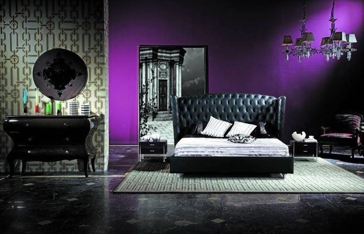 Deep purple feature wall black and white everything else for Black feature wall bedroom