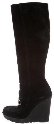 Gucci Horsebit Knee-High Wedge Boots
