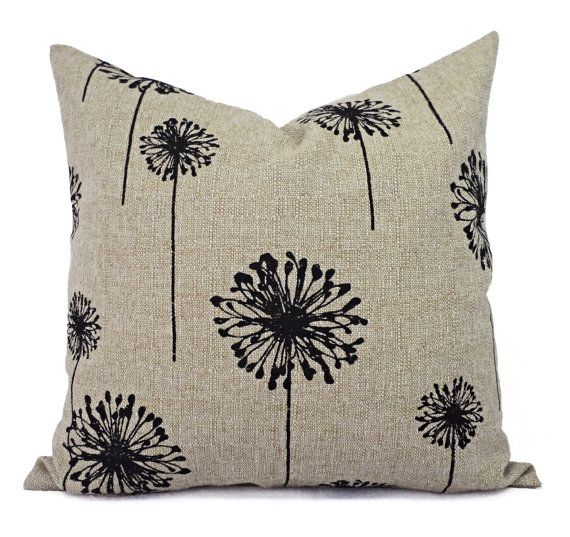 Two Pillow Covers  Black and Cream Dandelion by CastawayCoveDecor