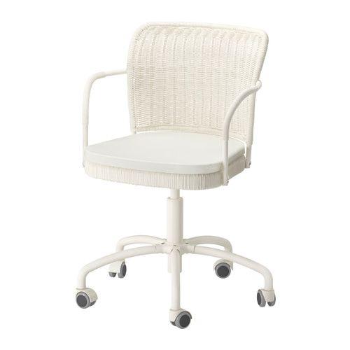 IKEA - GREGOR, Silla giratoria, blanco/Vittaryd beige claro,  , , La altura de la silla se puede regular y te ofrece la máxima comodidad.Gracias a que están revestidas de goma, las ruedas se deslizan suavemente sobre cualquier tipo de suelo.