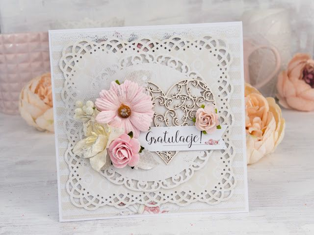 Full of flowers, pale colors wedding card made with Studio 75 papers and Scrapiniec chipboards. #cardmaking #scrapbooking #layeredcard #majadesign # card #handmadecard #papercraft