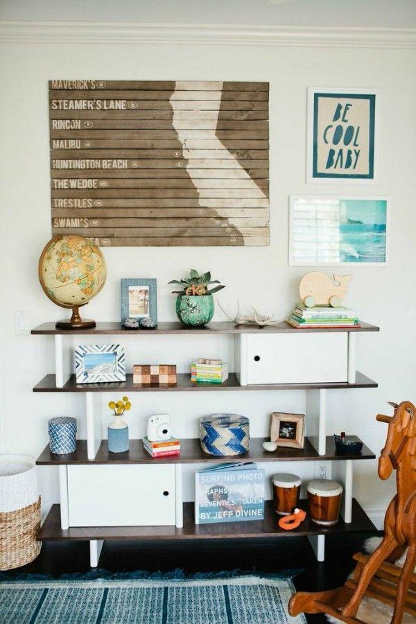 Midcentiry Modern Styled Shelves | Little Gem: Jacquelyn Bettencourt's Nursery | theglitterguide.com