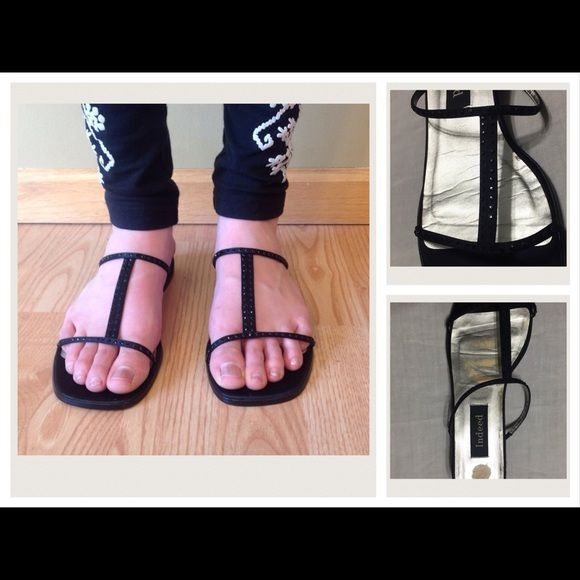 """Indeed Dressy Flat Sandals Black T-Strap Sandals with Small Black Rhinestones, hard to see in photo.  About 3/4"""" Heel. Left Insole shows wear, not sure why, have been stored, see photo. Actually only worn twice. Indeed Shoes Sandals"""