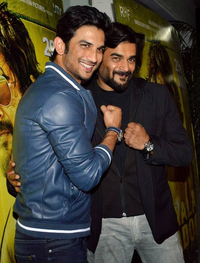 Sushant Singh Rajput with R Madhavan at Saala Khadoos screening. #Bollywood #Fashion #Style #Handsome