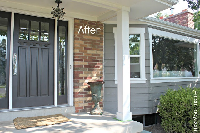 Craftsman Door w/Sidelight on a ranch style brick house.