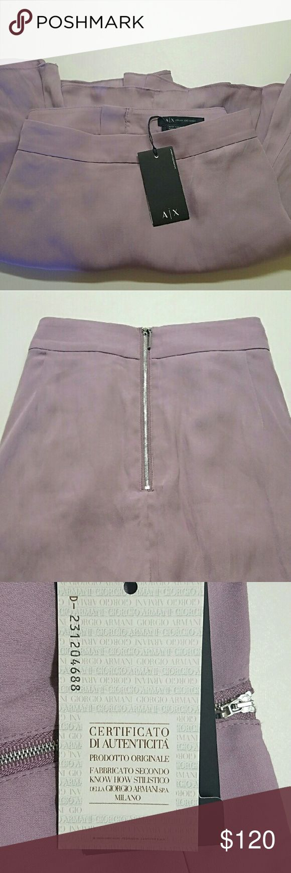 ARMANI X  Silk Mini Skort  NWT!!! AX Mini Skort in Mystic Mauve. Made in a lightweight flowy silk. This is definitely fun and flirty, especially for summer. Perfect for day into night!!! Silver zip up back. Two fitted side pockets. Don't let this gem get away, these are VERY hard to find!!! Armani Exchange Skirts Mini
