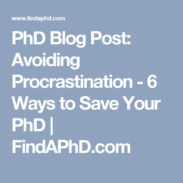 PhD Blog Post: Avoiding Procrastination - 6 Ways to Save Your PhD | FindAPhD.com