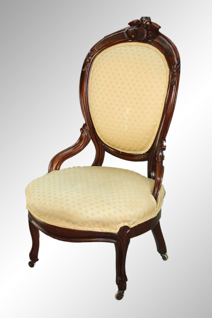 16338 Antique Victorian Walnut Gentleman's Chair with Burl and Carving - Maine  Antique Furniture - 70 Best Antique Living Room Furniture Images On Pinterest