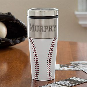 Home Run Personalized Baseball Travel Coffee Mug - such a great gift idea for a…