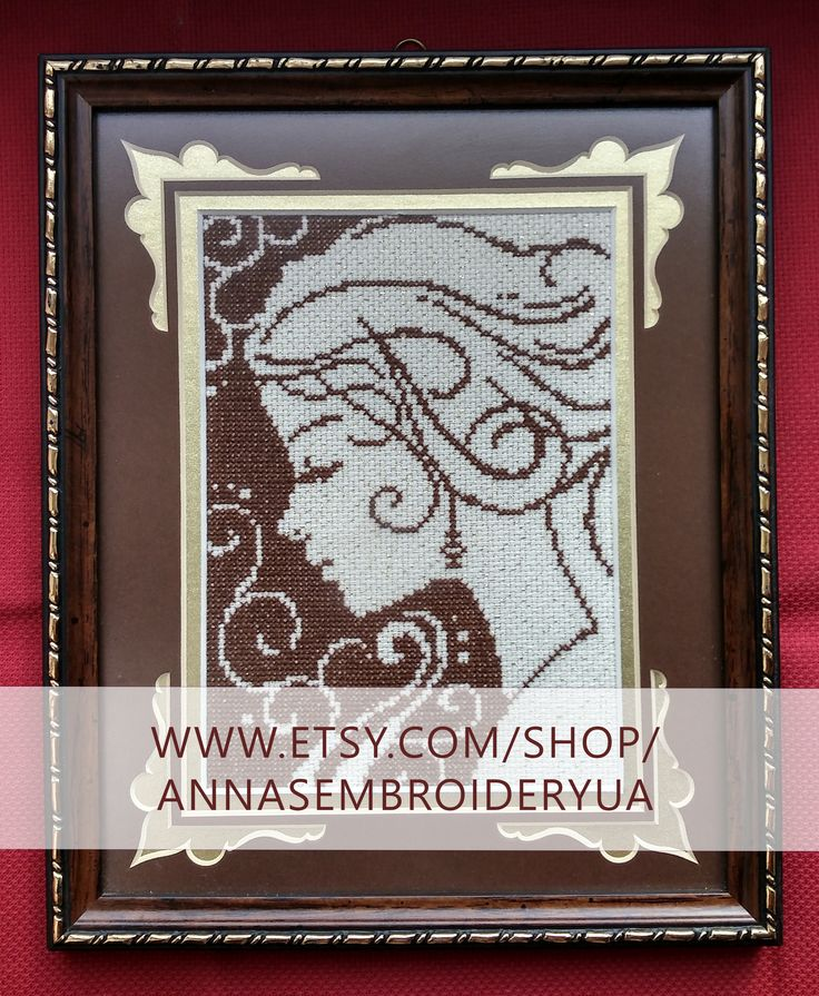 Girl`s fantasies. Framed cross-stich (completed) made by hands. Wooden frames, anti glare glass.