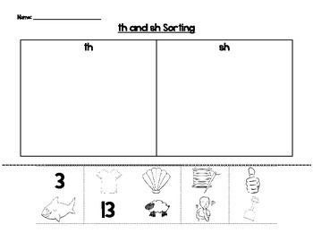 This is a phonics worksheet where students cut and paste pictures under the appropriate digraph based on the beginning sound.