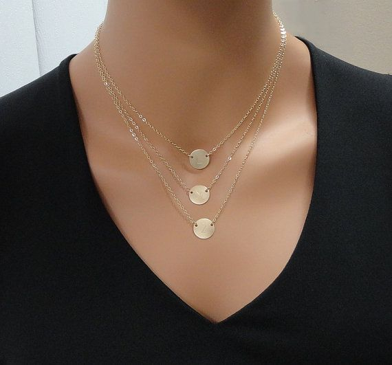 Personalized Layered Necklace  Gold Filled 1/2 by SivadoStudio
