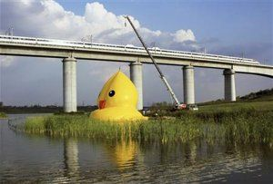 An inflatable Rubber Duck by Dutch conceptual artist Florentijn Hofman, is being set up next to a high-speed railway viaduct bridge on a lake at the 9th China International Garden Expo in Beijing