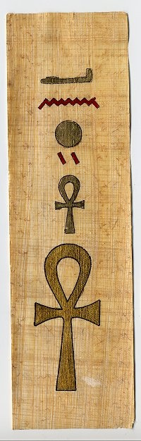 Hieroglyphics on PAPYRUS: Papyrus is a thick paper-like material produced from the pith of the papyrus plan. Papyrus cracked when folded and so was preserved in the form of a scroll.