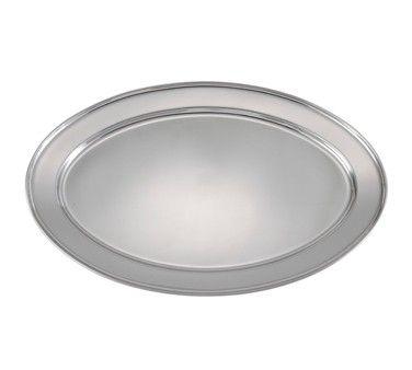 Heavy Stainless Steel Oval Platter - 12 X 8-5/8
