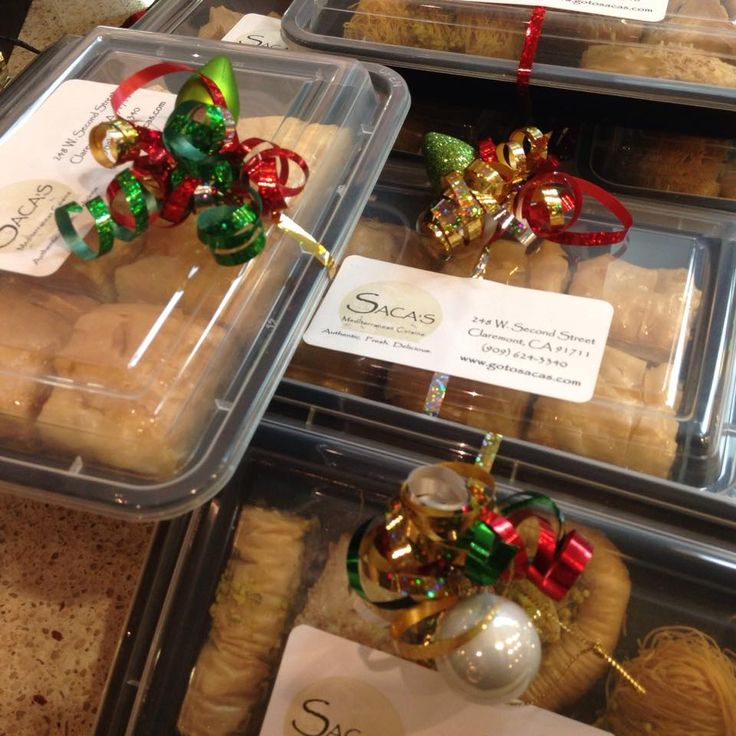 Baklava Gift Boxes with Christmas tree ornaments at Saca's Mediterranean Cuisine.