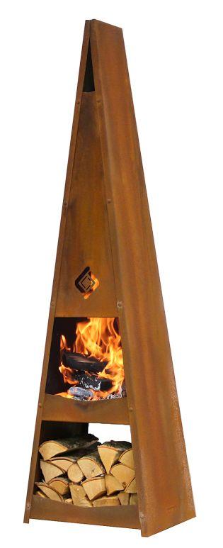 Harrie Leenders Katan is een solide buitenhaard met een mooie strakke vorm #terrashaard#tuinkachel