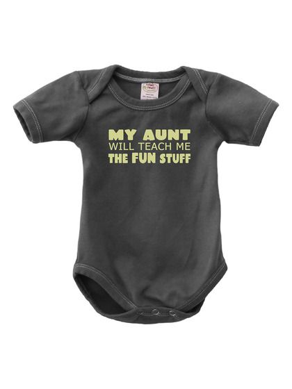 I can't believe I'm six in and haven't bought this yet!   Organic Fun Aunt Onesie by Urban Smalls at Gilt