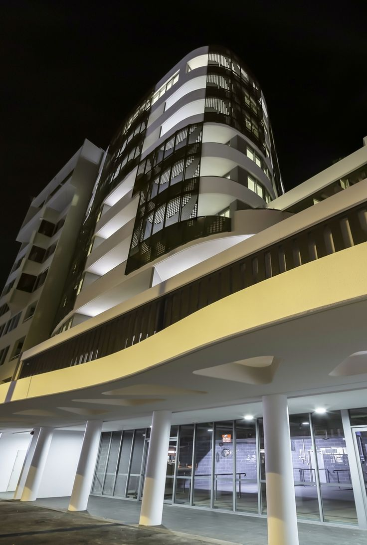 Entrance into Longbeach Apartments at night