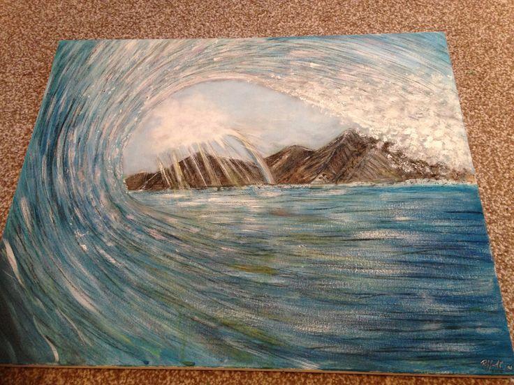 Tahiti wave, acrylic, rainbow, painting