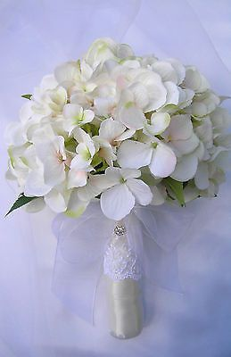 wedding bouquet artificial hydrangea real touch bridal ivory vintage cream pink with matching grooms button hole total price $115 on eBay