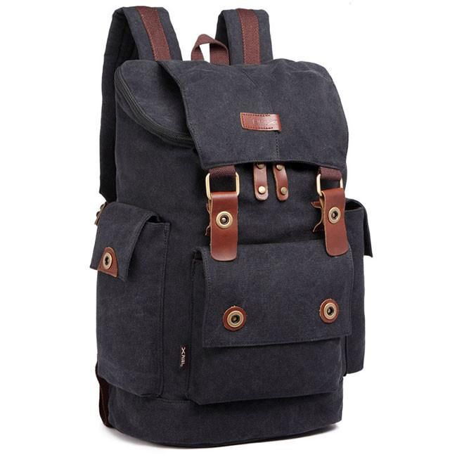 Retro Travel Rucksack Splicing Leather Belts School Laptop Men s Canvas  Large Capacity Outdoor Backpack 91dd6d9acc