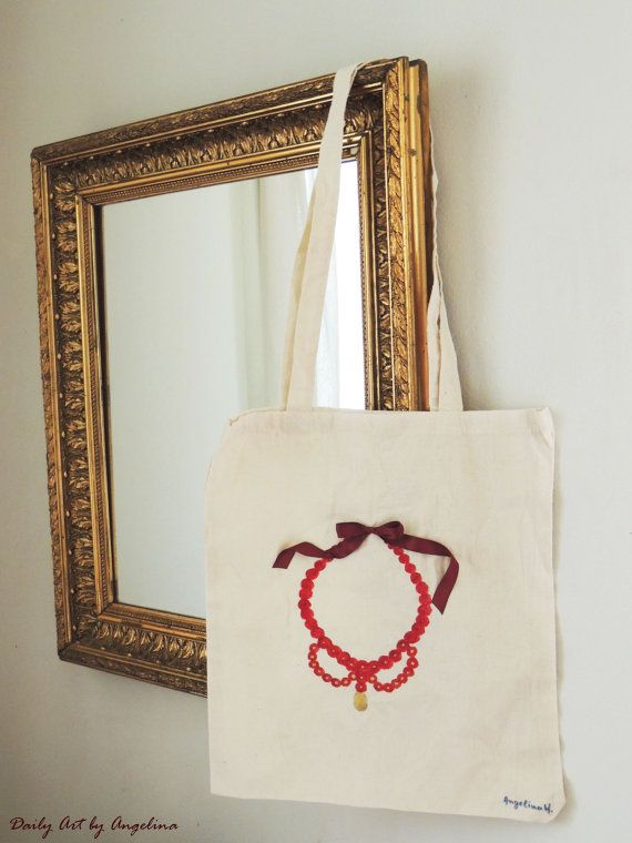 Hand-painted canvas bag by DailyArtbyAngelina on Etsy