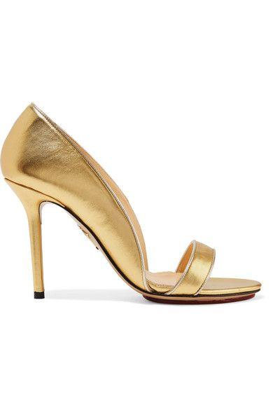 Charlotte Olympia - Christine Metallic Leather Pumps - Gold - IT39.5