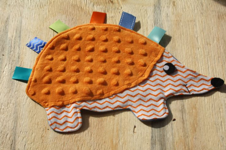 Orange Chevron Hedgehog Lovie with orange shell by TenderLovies on Etsy