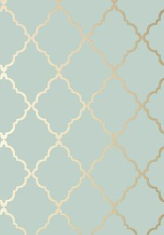 KLEIN TRELLIS, Metallic Gold on Aqua, AT6058, Collection Seraphina from Anna French