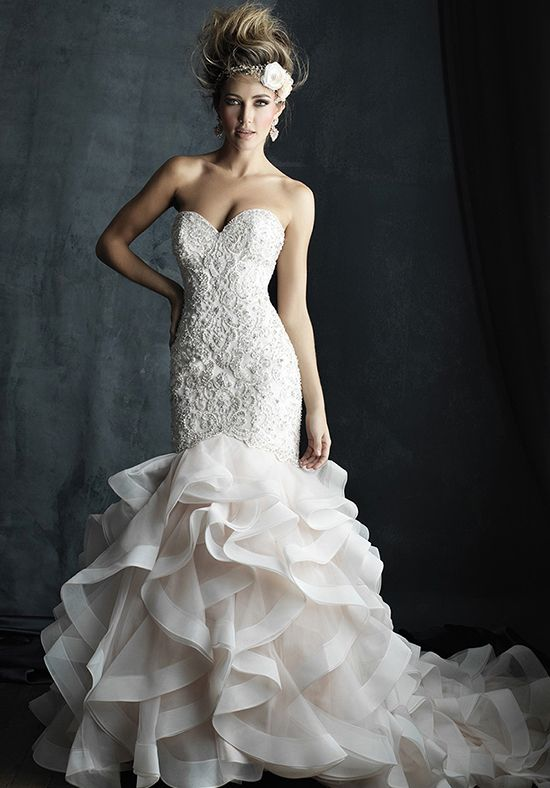 Beaded mermaid styled wedding dress with sweetheart neckline and ruffled skirt I Style: C389 I Allure Couture by Allure Bridals I http://knot.ly/6495BFew3