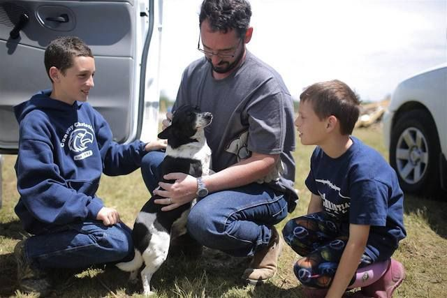 Dog swept up by Arkansas tornado reunited with family at their destroyed home » DogHeirs | Where Dogs Are Family « Keywords: arkansas, tornado, twister
