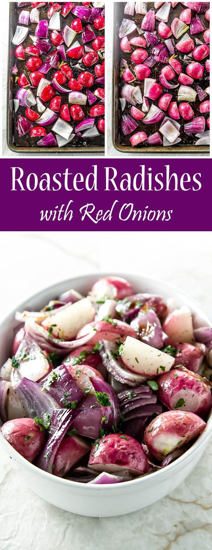 Roasted radishes with red onions is an easy side dish - perfect for weeknights or special occasions | girlgonegourmet.com