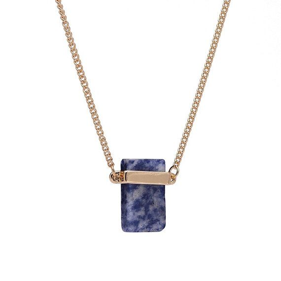 Sodalite Necklace, Healing crystal necklace, Rectangle Pendant, Natural Crystal Pendant,Genuine Sodalite Gemstone,Gift for her