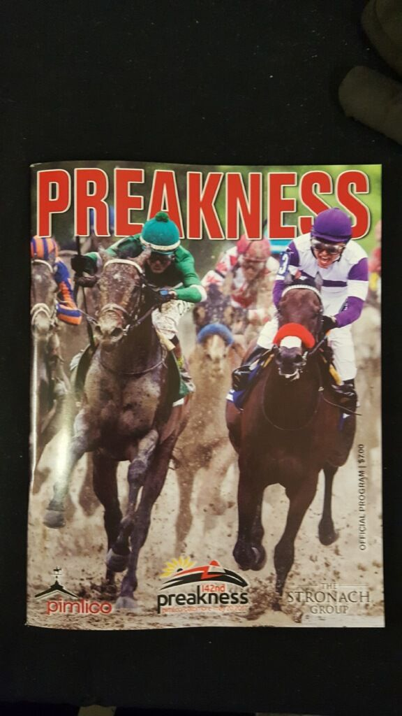 Ortowski's EXAGGERATOR, Preakness winner 2016, (in green) featured on the Cover of The Official Preakness Program 2017.