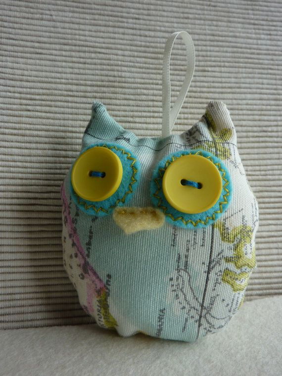 Map Print Fabric Owl by PepperPotCrafts on Etsy,