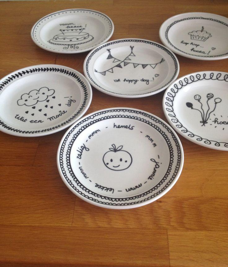 Bordjes waar je vrolijk van wordt. #Porselijnstift