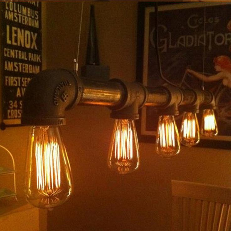 Find More Information About Loft Retro Water Pipe Pendant Lights Edison Lamp Vintage Industrial Fixture