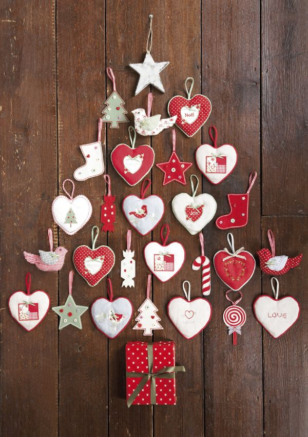 Christmas Tree Wall Hanging.....all this for less then $10 and all you need is your favourite decorations ( flat) I bought mine at the dollar store and an empty small box I used a mini cereal box and wrapped it, nail to the wall and you have a fab focal point