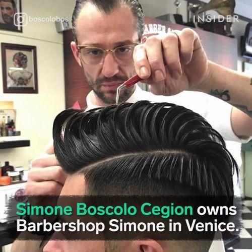 Mistrz old schoolowych fryzur Simone Boscolo Cegion'a, barber z Wenecji.    #hair #haircut #barber #venice #oldschool #beautymania https://video.buffer.com/v/58fcd4e4313331d8414ea825
