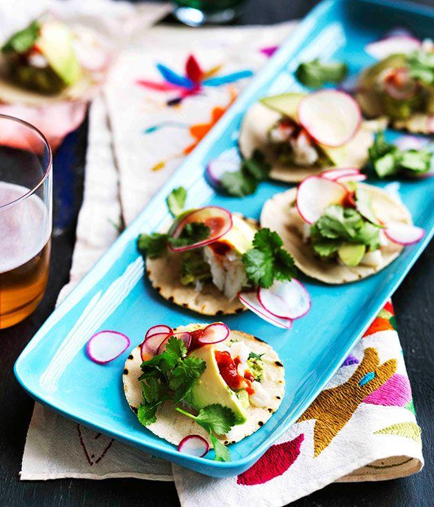 Australian Gourmet Traveller recipe for mini guacamole and crab tacos.