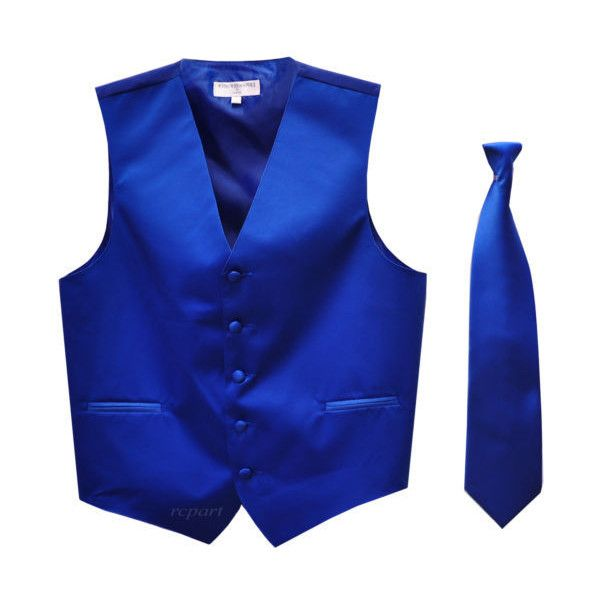New Men's Solid Tuxedo Vest Waistcoat Necktie Royal Blue Prom ❤ liked on Polyvore featuring mens and men's clothing