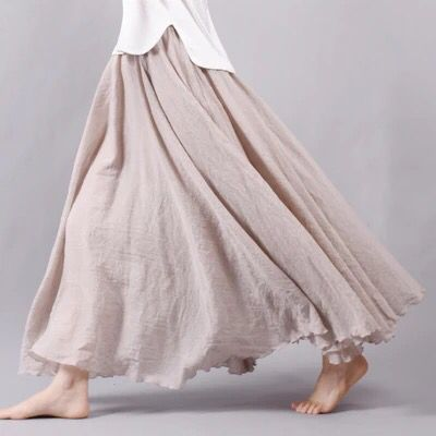 Cotton linen skirt big hem long skirt women clothes 45$