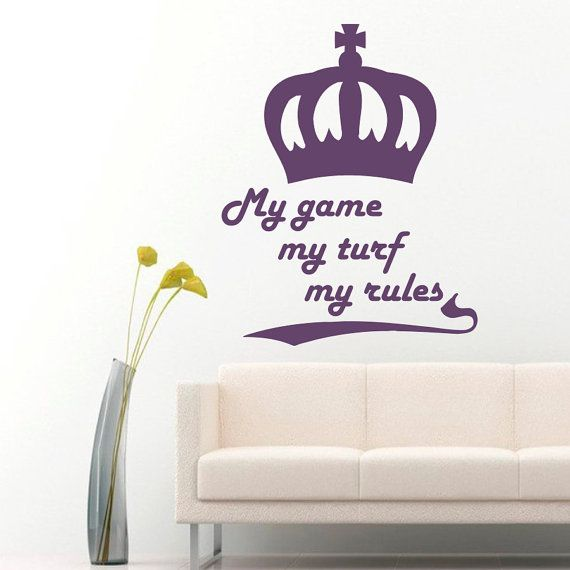 Wall Decals  My Game My Rules Quotes Crown Vinyl by BestDecals