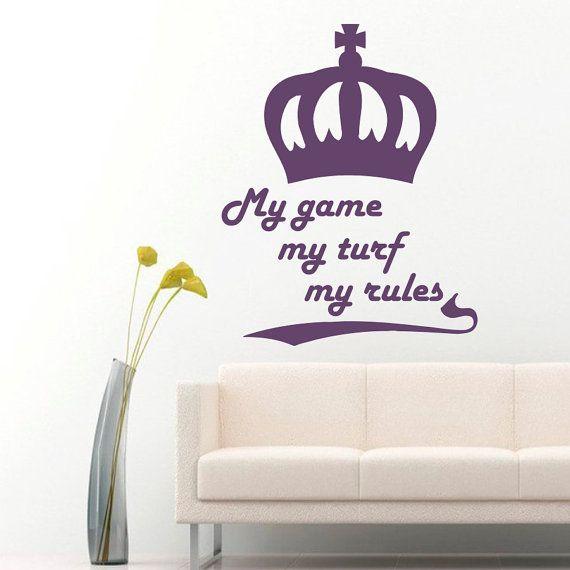 Adesivi murali mio gioco mio regole citazioni Crown Vinyl Decal Sticker Home Decor camera camera soggiorno ufficio studio murales ML8