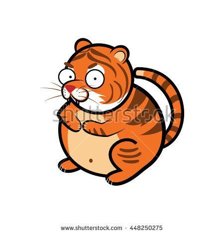 animal tiger cartoon , cartoon sticker icon - stock vector