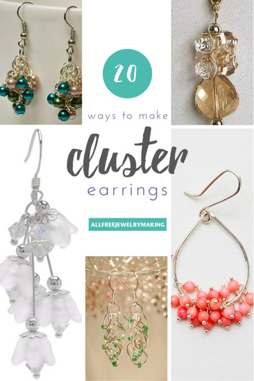 How to Make Cluster Bead Earrings: 20 Ways | The warm weather means you will be putting your hair up more. So get prepared by making some of these stunning cluster earring patterns!