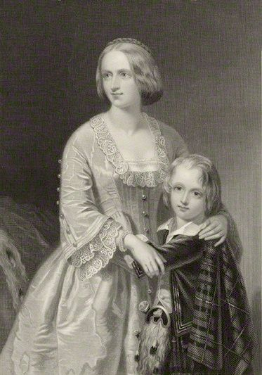 Mother of John Campbell (1845-1914) & 1st of 3 wives of George Douglas Campbell (1823-1900) 8th Duke of Argyll.  Elizabeth Georgina Campbell Duchess of Argyll (1824-1878) with her son John Campbell (1845-1914), 9th Duke of Argyll by Willaim Henry Mote in 1851.