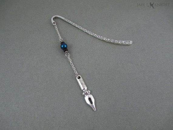 Silver Pen Nib Bookmark - Your Choice of Color - Writer Gift - Author Gift